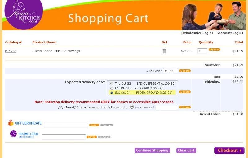 screenshot of cart