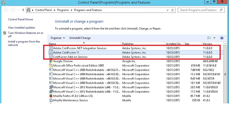 CF 11 in Add/Remove Program
