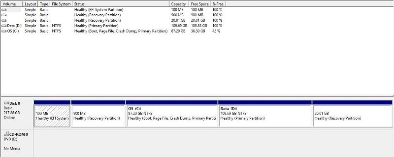 Screenshot of Disk Management