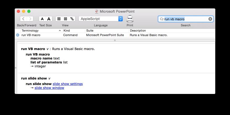 Run Office:2011 VBA macro from AppleScript (on OS X Yosemite)