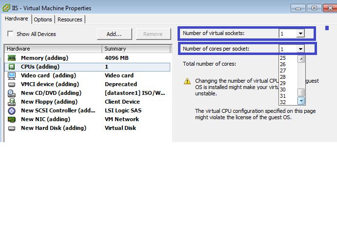 CPUs in VM Creation