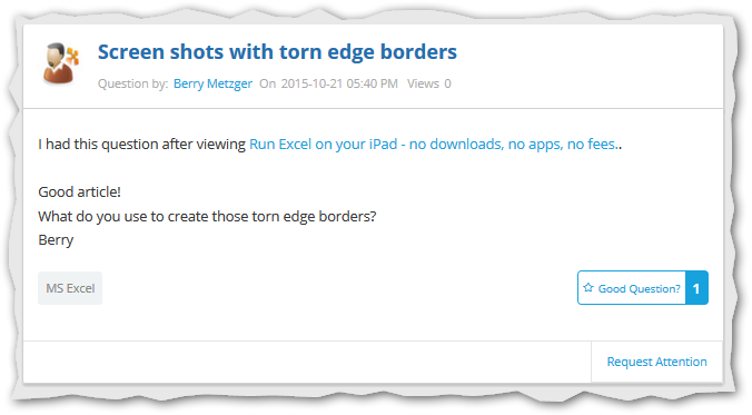 Screenshot of question with torn borders