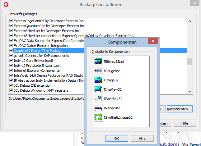 Screenshot Installed packages