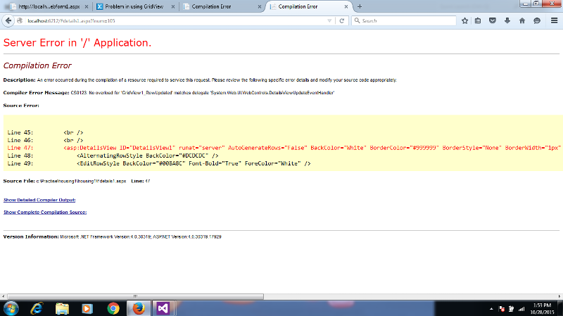 This is the error shown..........