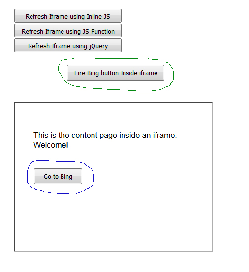 button click event inside iframe in html page