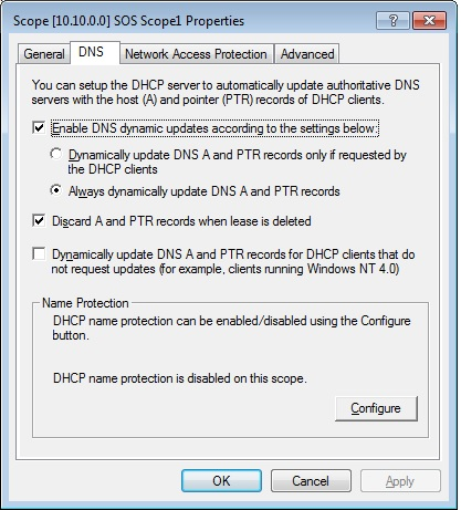 DNS tab on properties of DHCP scope