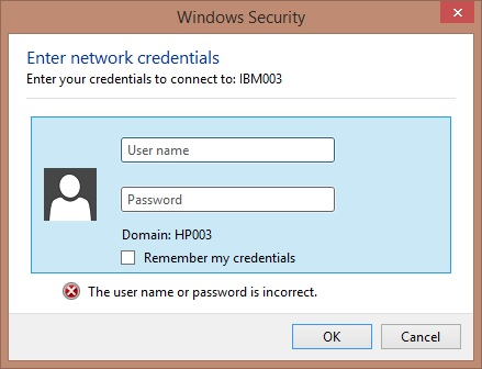 Windows Security -- Enter network credentials