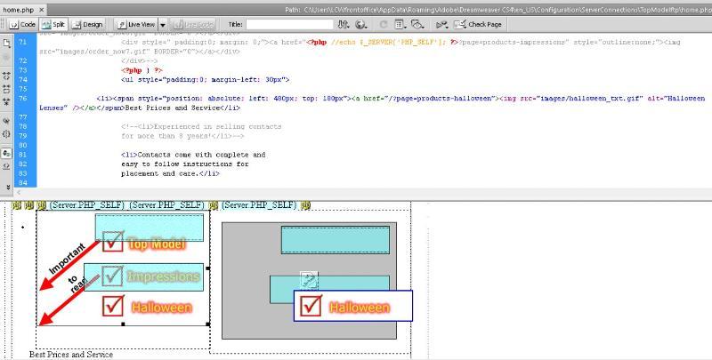Menu map (home.php) code