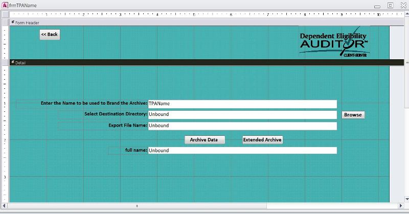 Archive form in design view