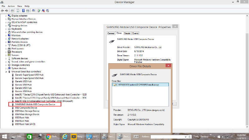 Control Panel --> Device Manager. Windows 8.1 recognizes the device as Samsung Mobile USB Composite device. When attaching samsung mobile to laptop's USB 2 port through a USB 3 hub.