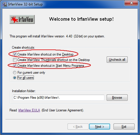 IrfanView install shortcuts