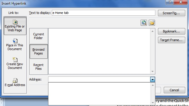 Screenshot of Insert Hyperlinks Dialog Box