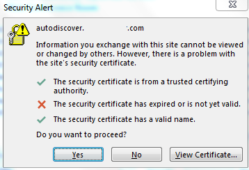 Error showing cert being used is expired.