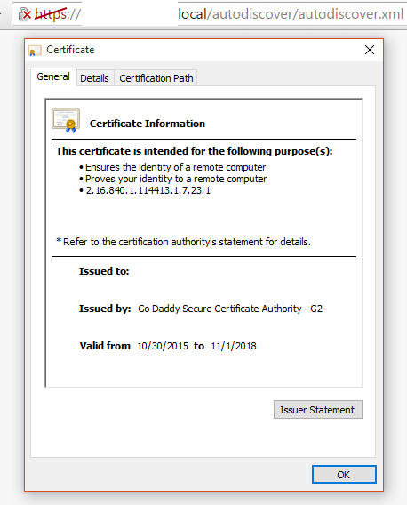 New cert being used