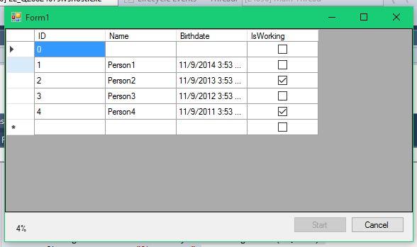 After clicking start, we start filling the datagrid