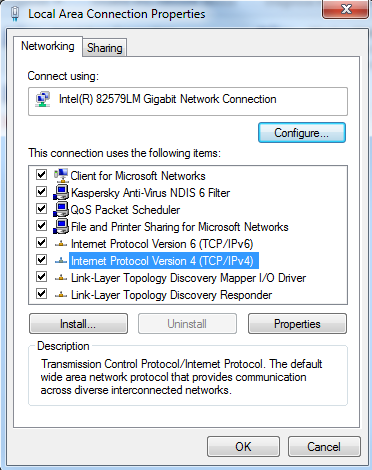 Shows IPv4 and IPv6 enabled in network settings.