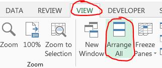 screenshot of arrange workbooks button
