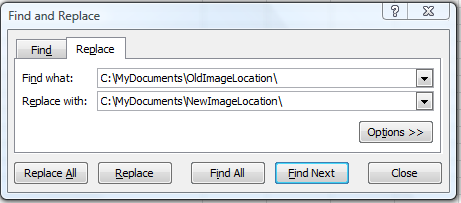 Search and replace screen capture