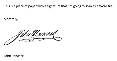 paper with signature