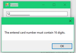 Attempting to evacuate the control with less than 16 digits in the card number.