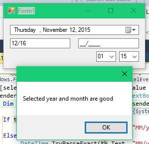 Choosing a valid date.