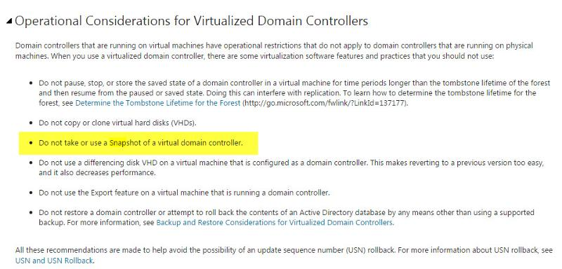 Restrictions of domain controllers in a virtual environment