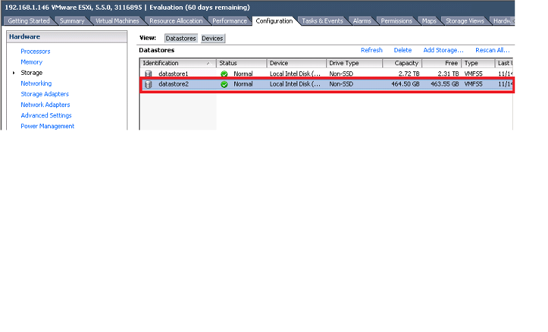 Datastore added