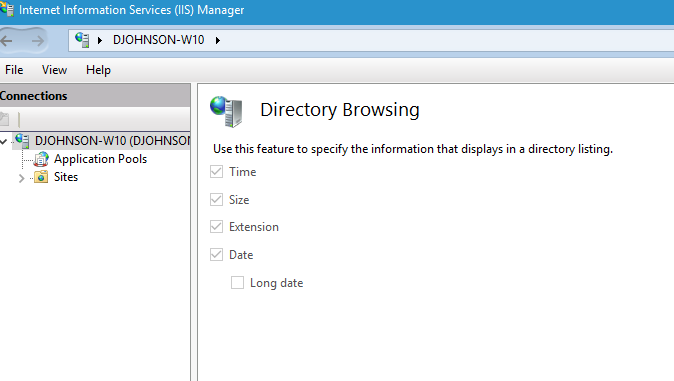 Directory Browsing in iis