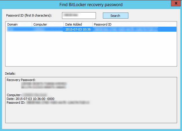 Find Bitlocker Recovery Password in AD [2]