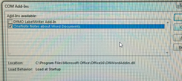 dymo add-in not saving in word 2013/2016