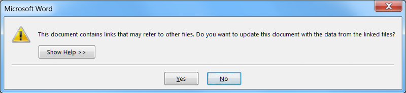 Dialog box displayed by MS Word when opening doc with linked object.