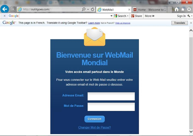 French language in IE for a website
