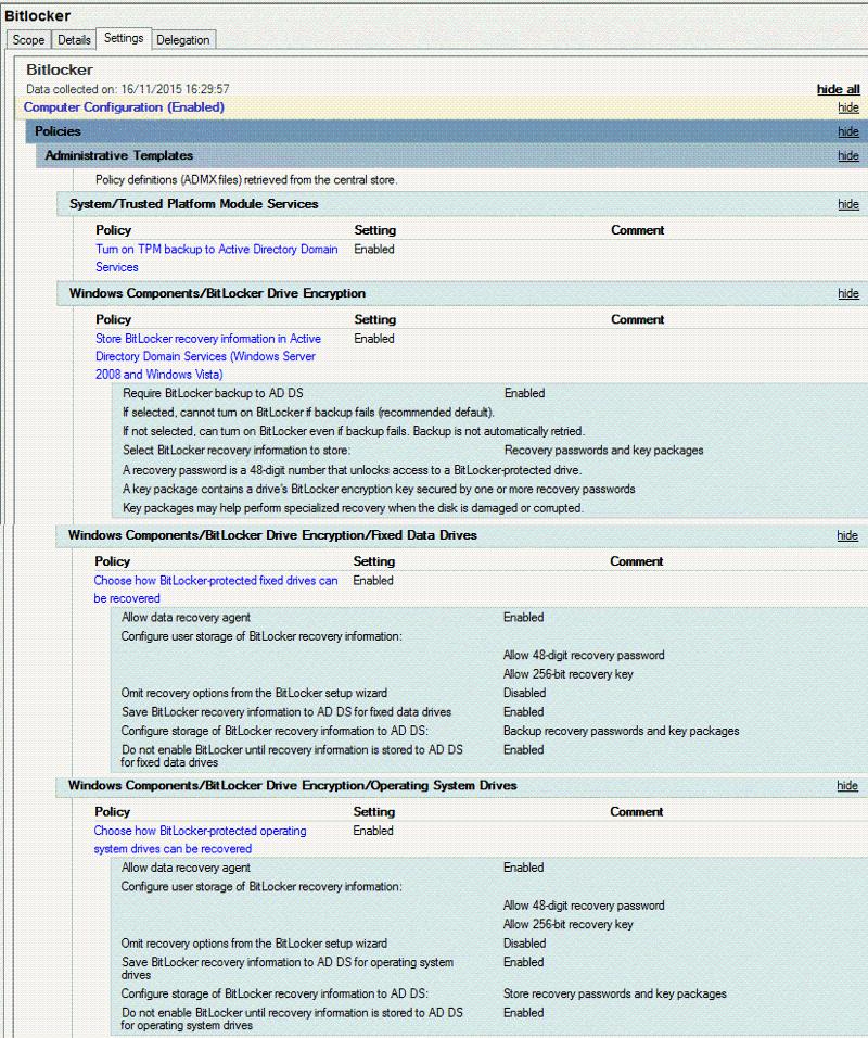 Working Bitlocker GPO settings