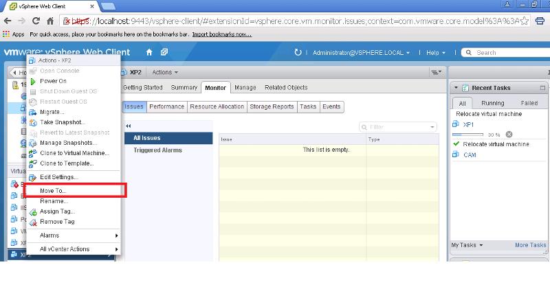 Move Option in VSphere Web Client