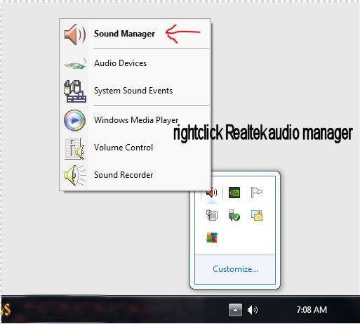 Realtek audio manager shortcut