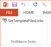 PowerPoint ribbon test tab, group and button