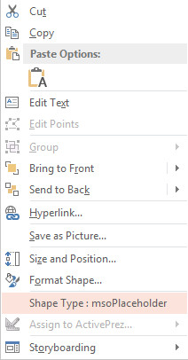 PowerPoint shape type in right-click menu