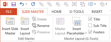 PowerPoint Slide Master Title enabled