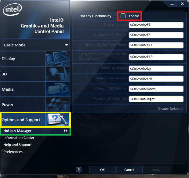 Intel Hot key