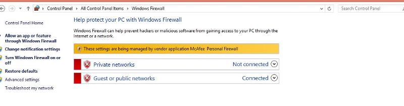 WIn8.1 Firewall Settings