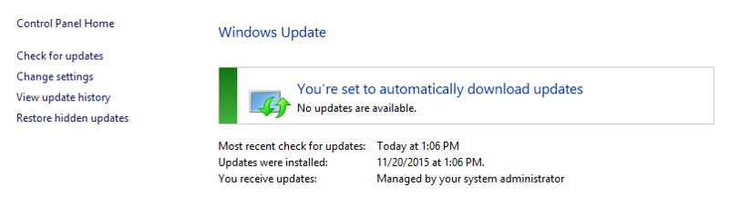 Normal view of Windows Updates in a Windows 2012 R2 Server.