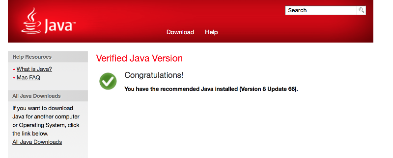What I see when I go to java.com and click verify