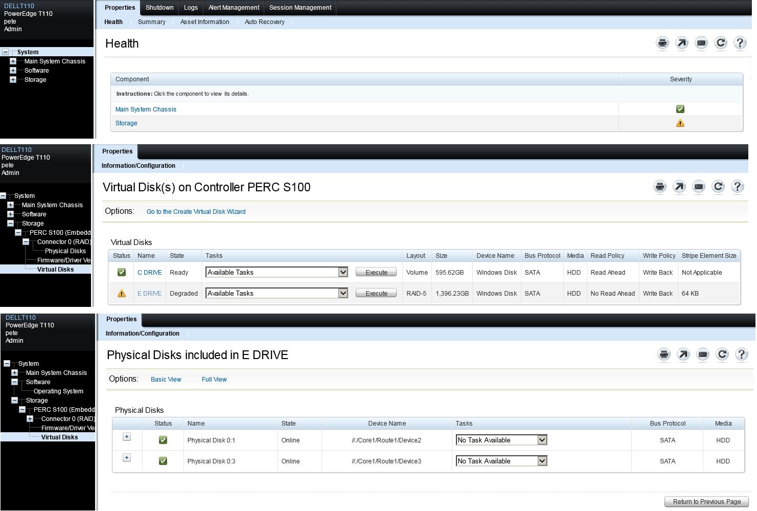 Dell Check Raid Status Windows