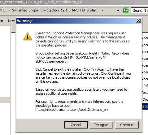troubles installing Symantec Endpoint protection enterprise