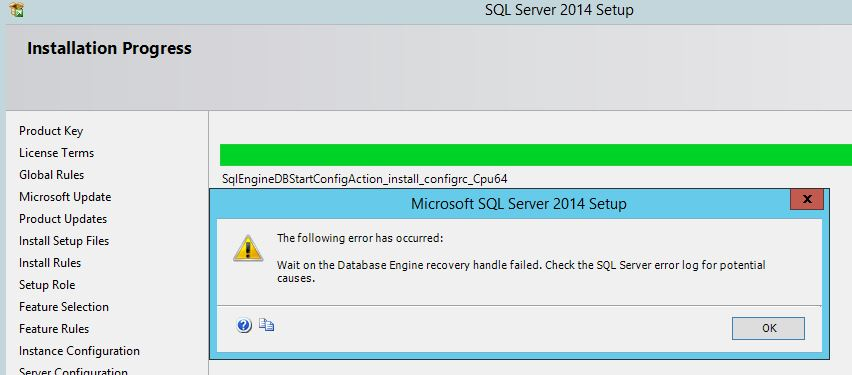 SQL Server 2014 Std install fails