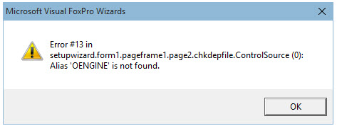 Errors with Visual Foxpro setup Wizard