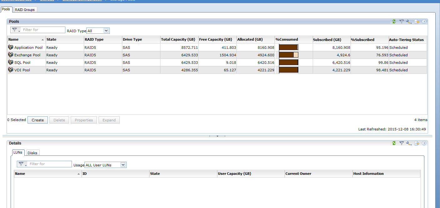 EMC VNX5400 need help increase the size of a storage pool