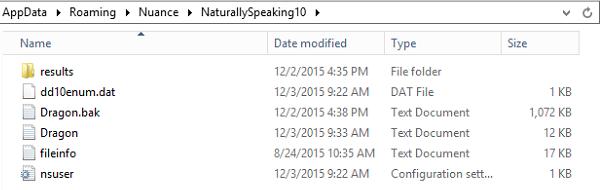 Dragon AppData files