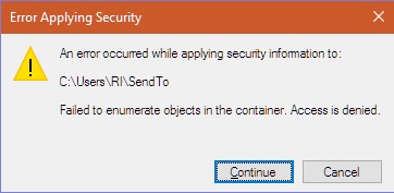 Error while applying security information Windows 10