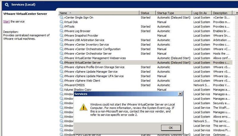 Service Start Error